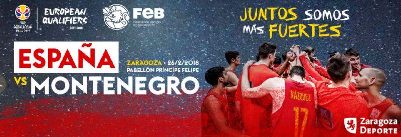 España - Montenegro el 26 de febrero en Zaragoza