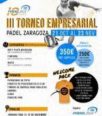 Ya puedes inscribirte con tus compañeros de trabajo al III Torneo Empresarial de Pádel Zaragoza