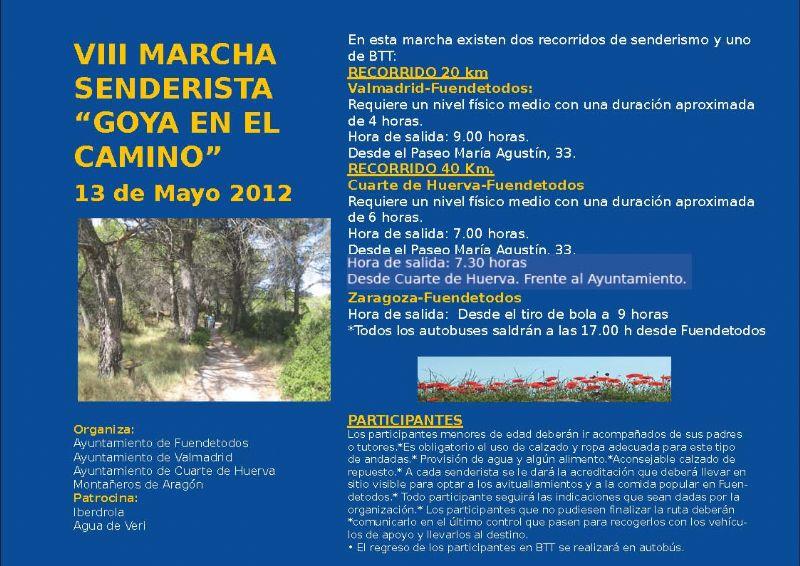 VIII Marcha senderista «Goya en el camino» | Eventos | Zaragoza Deporte