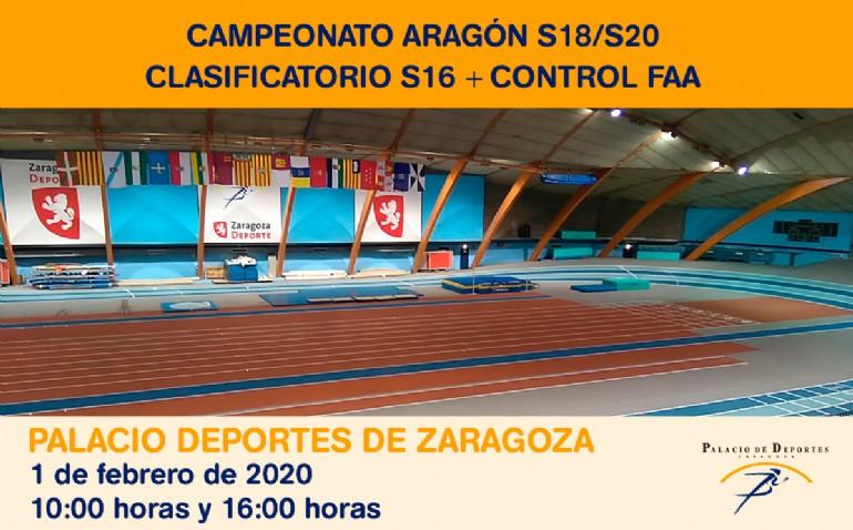 Campeonatos de Aragon Sub18/Sub20 + Clasificatorio Sub16 + Control F.A.A. de Atletismo en Pista Cubierta
