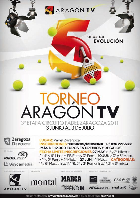 Este viernes 10 de junio finaliza el plazo para inscribirse en el «Torneo Aragon TV» de Pádel