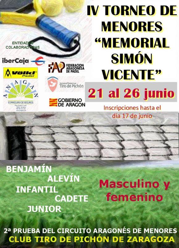 Se abre el plazo de inscripción para el «IV Memorial Simón Vicente» de Pádel para menores
