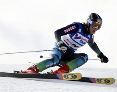 La aragonesa Leyre Morlans en el mundial de esquí alpino.