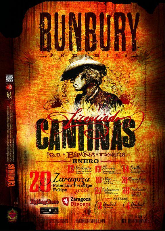 Bunbury actuará el 20 de enero de 2012 en el «Pabellón Príncipe Felipe» dentro de su nueva gira por toda España.