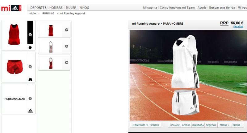 Adidas presenta una web que permite personalizar las equipaciones de running, fútbol y baloncesto.