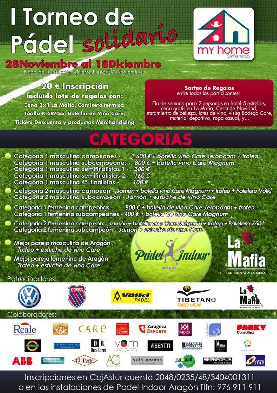 Abiertas las inscripciones para el «I Trofeo Solidario de Pádel»