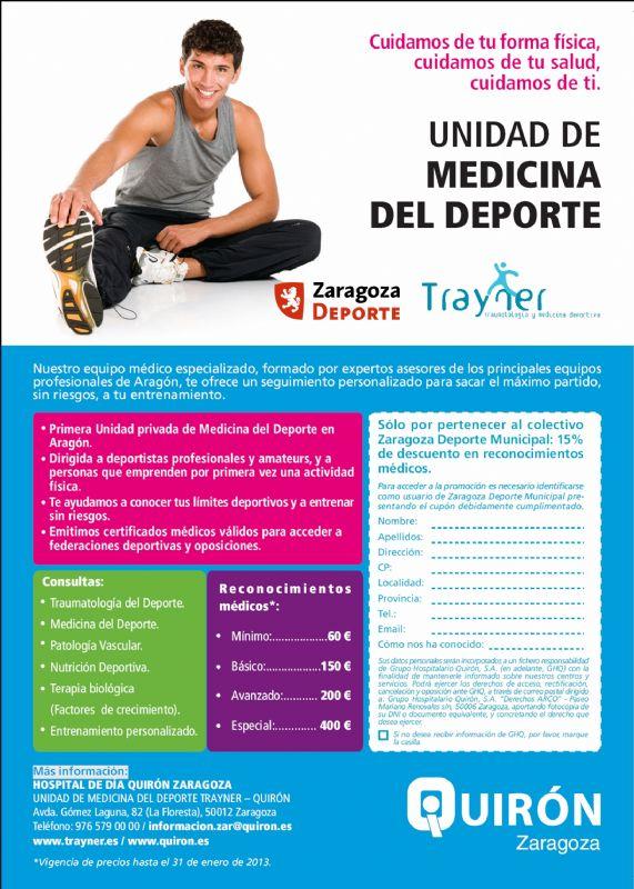 Zaragoza Deporte y Quirón Zaragoza te ofrecen un 15% de descuento en tu reconocimiento médico deportivo