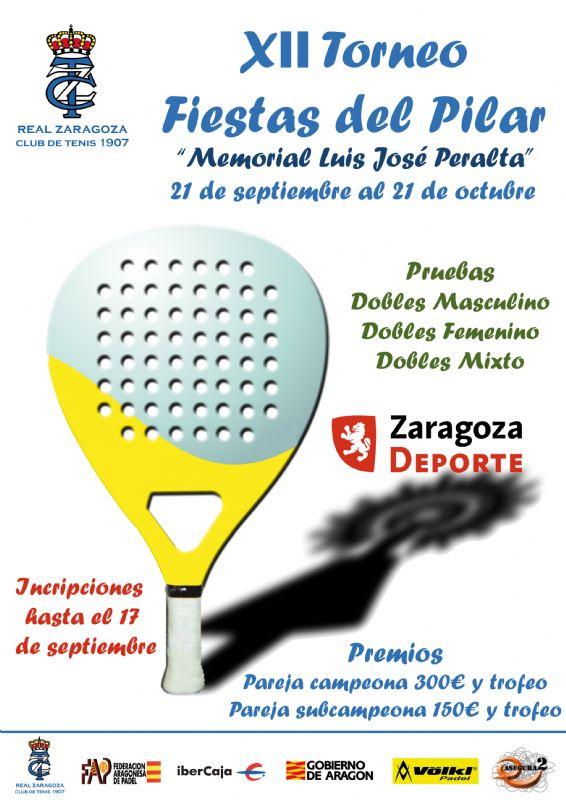 Hoy comienza el XII Torneo Fiestas del Pilar de Pádel «Memorial Luis José Peralta»