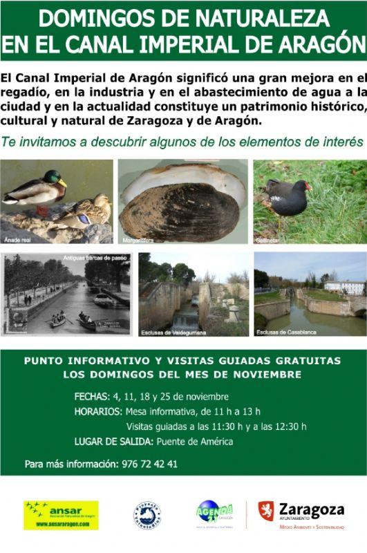 Domingos de naturaleza en el Canal Imperial de Aragón