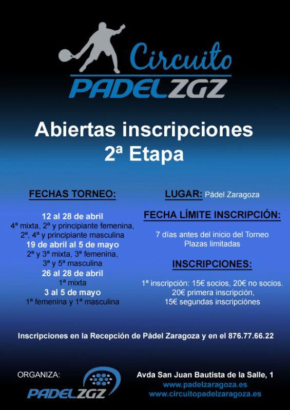 Inscripciones para el Torneo Volkswagen Automoción Aragonesa y Sartopina de Pádel