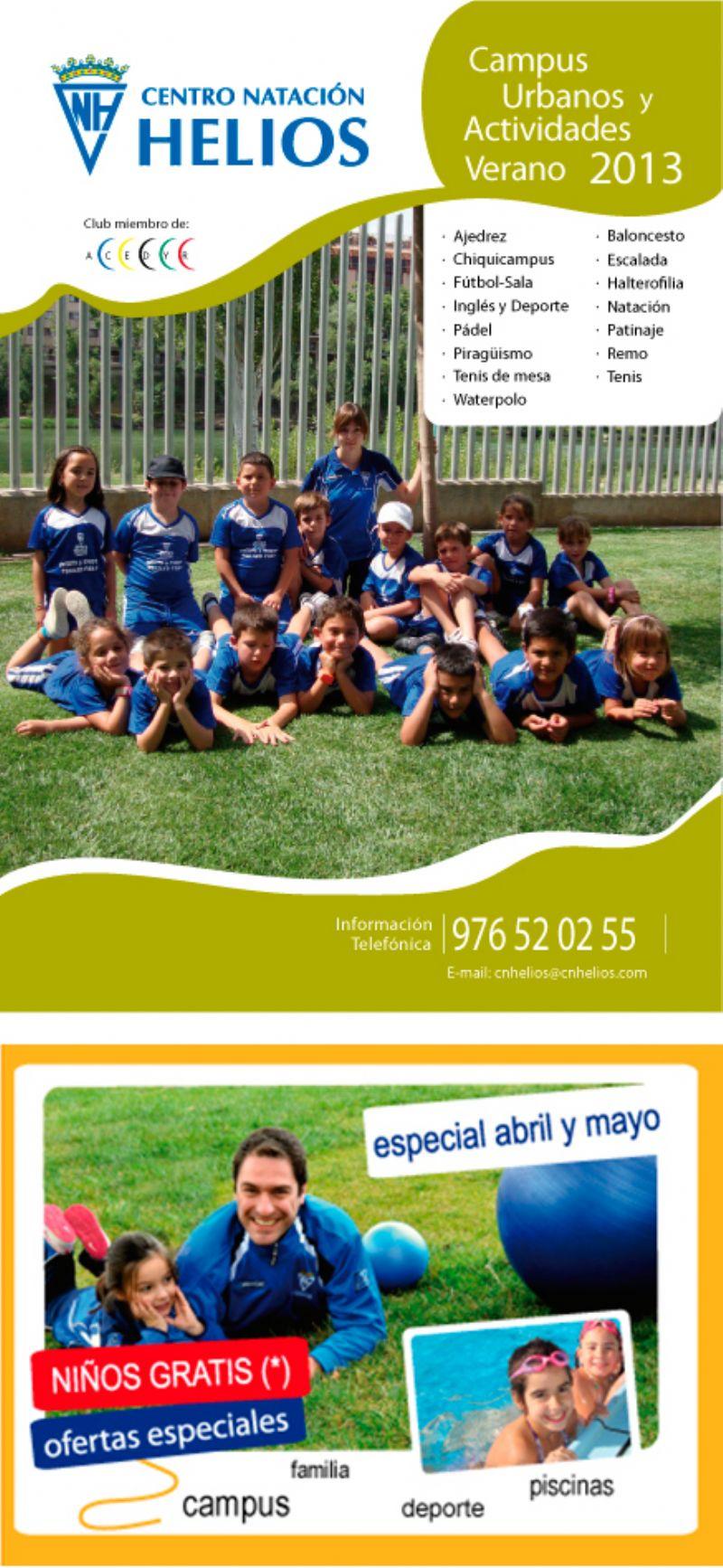 C. N. Helios lanza sus Campus de Verano 2013 y una promoción para abonarse en abril y mayo de 2013