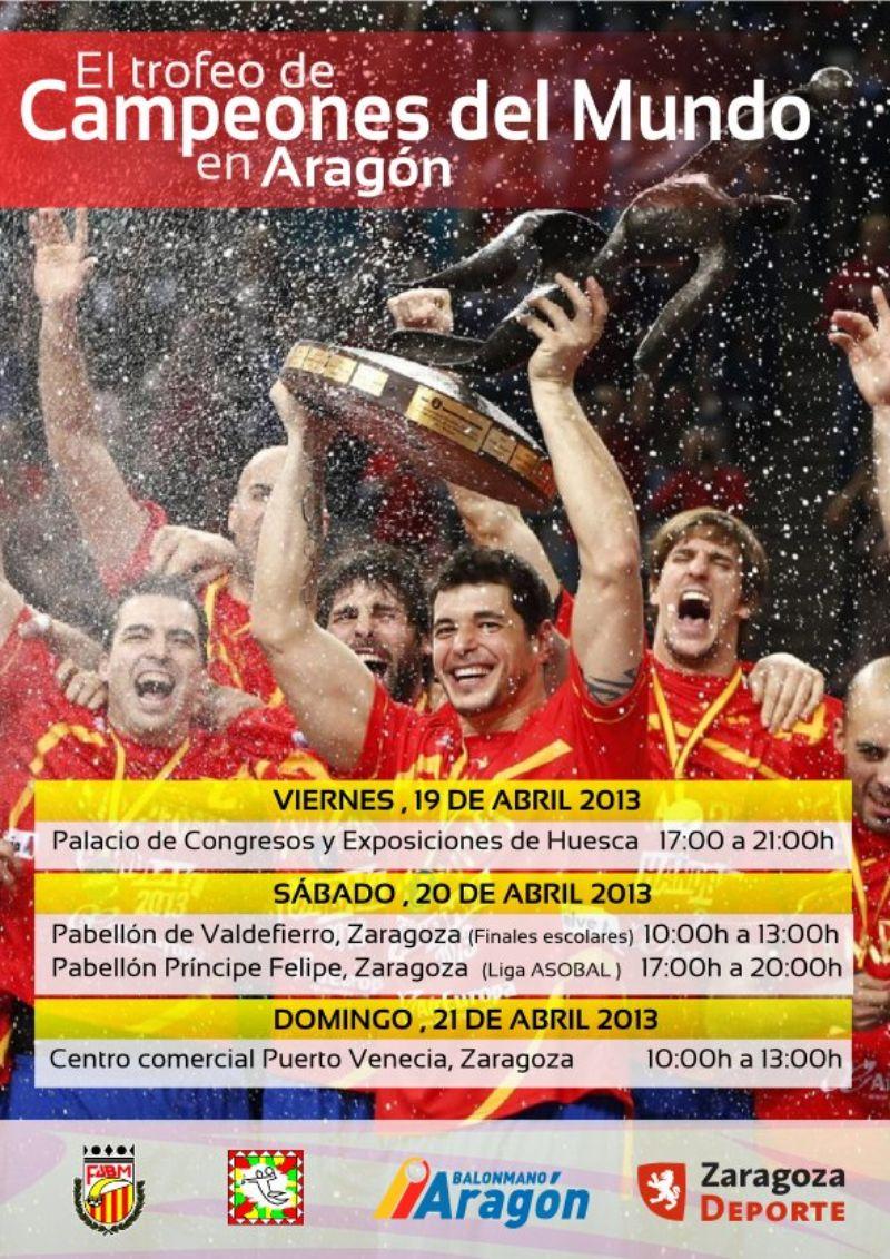 El trofeo de Campeones del Mundo de balonmano visita Zaragoza