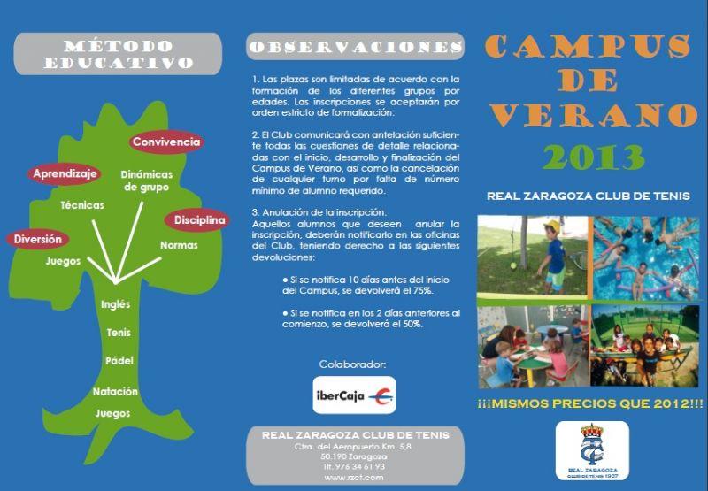 Campus de Verano 2013 del Real Zaragoza Club de Tenis