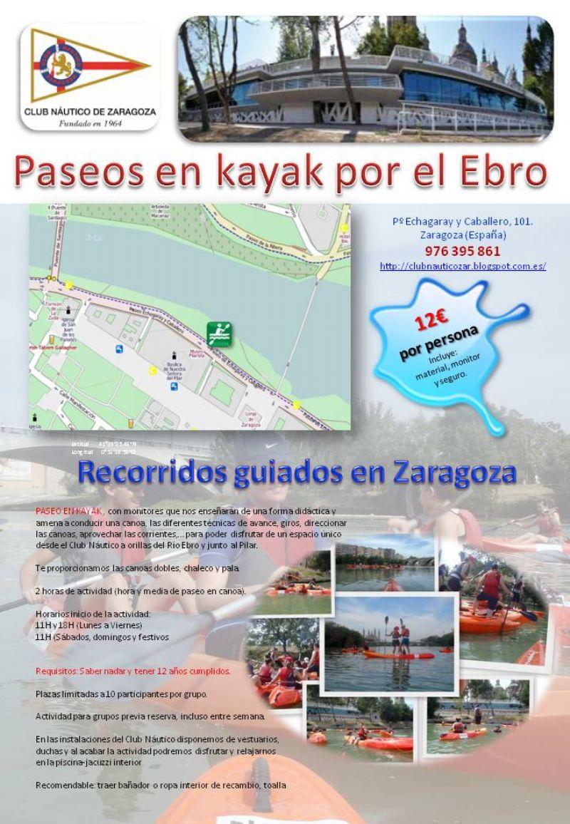 El Club Náutico de Zaragoza ofrece paseos en Kayak por el Ebro y un curso de iniciación al Piragüismo