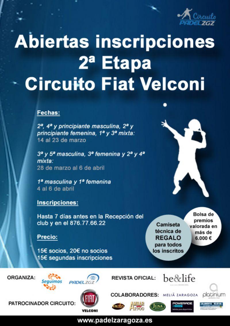 Inscripciones para la 2ª Etapa del Circuito Fiat Velconi de Pádel