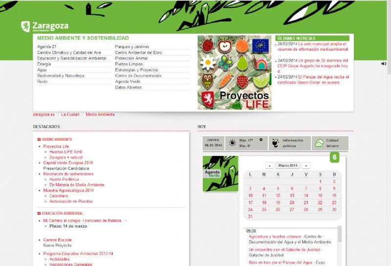 La web municipal amplía el volumen de información medioambiental de la ciudad y mejora su accesibilidad y transparencia