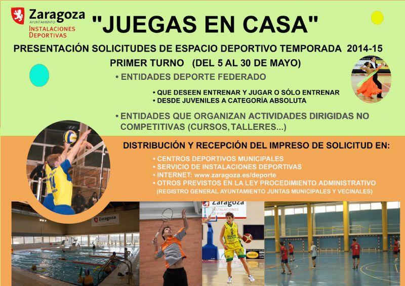 Se abre el plazo de solicitud de la campaña «Juegas en casa 2014-2015» para la reserva de espacios deportivos municipales