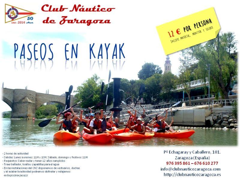 El Club Náutico de Zaragoza ofrece paseos en Kayak por el Ebro
