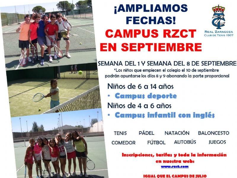 El Real Zaragoza Club de Tenis retoma su campus en septiembre