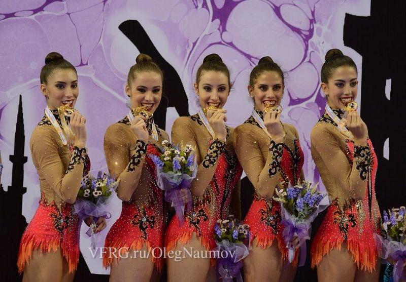 El conjunto español de gimnasia rítmica revalida el oro mundial en la final de mazas