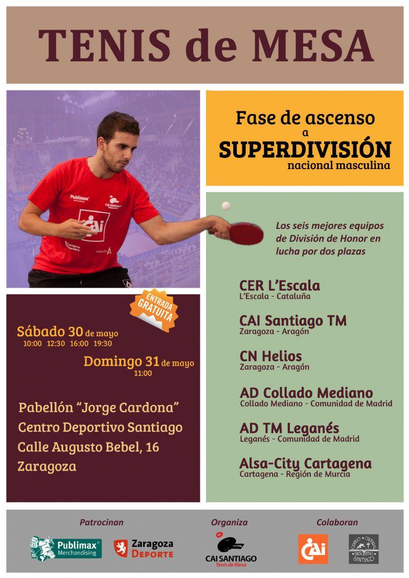 Zaragoza acogerá la Fase de Ascenso a la Superdivisión Nacional  de Tenis de Mesa