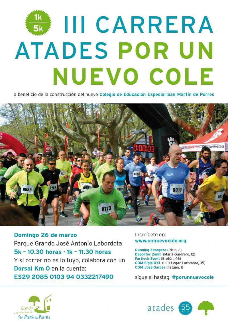 Un total  de 2.209 corredores tomarán la salida este domingo en la III Carrera «Por un nuevo cole» de Atades