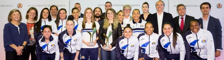 El Ayuntamiento entrega los Premios Zaragoza, Mujer y Deporte 2018 a la patinadora Nerea Langa y al club Sala Zaragoza