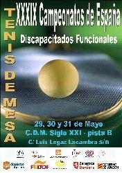 CAI Deporte Adaptado organiza los XXXIX Campeonatos de España de tenis de mesa para personas con discapacidad funcional