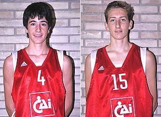 Javier Marín y Juan Candil, del CAI Zaragoza Cadete, con la selección española U15