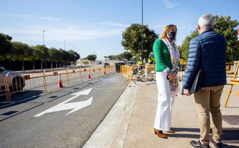 El nuevo carril bici de la Prolongación de Gómez Laguna facilitará la conexión ciclista desde Vía Hispanidad con el Distrito Sur