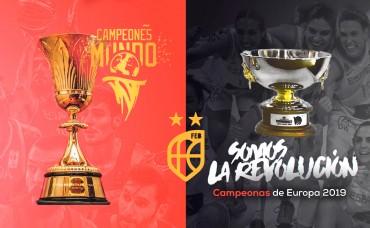¿Quieres hacerte una foto con las copas conquistadas en 2019 por las selecciones masculina y femenina de baloncesto?