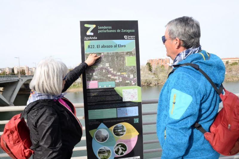 Zaragoza Deporte estrena la señalización del programa Zaragoza Anda, con 22 rutas senderistas en el entorno periurbano