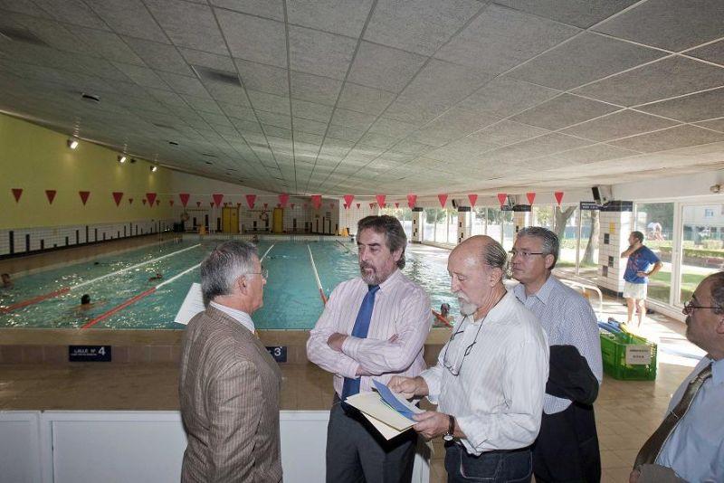Visita de las reformas del Palacio de Deportes de Zaragoza, 27 de octubre de 2009