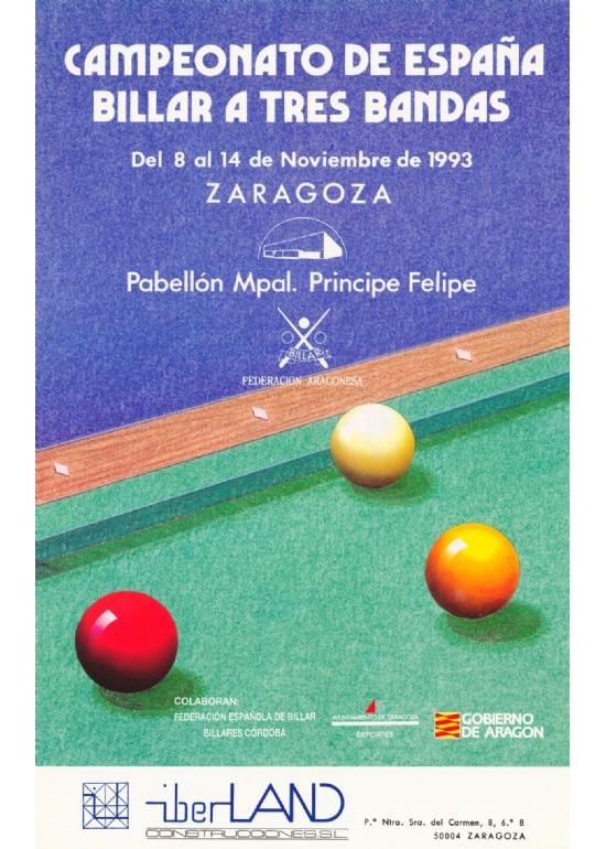 8 al 14 noviembre 1993 CAMPEONATO DE ESPAÑA DE BILLAR A TRES BANDAS