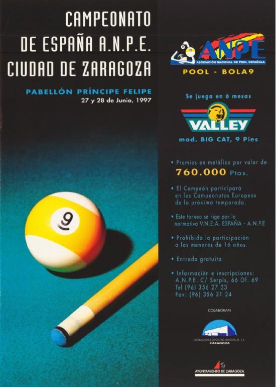 27 y 28 de junio 1997 CAMPEONATO DE ESPAÑA POOL CIUDAD DE ZARAGOZA